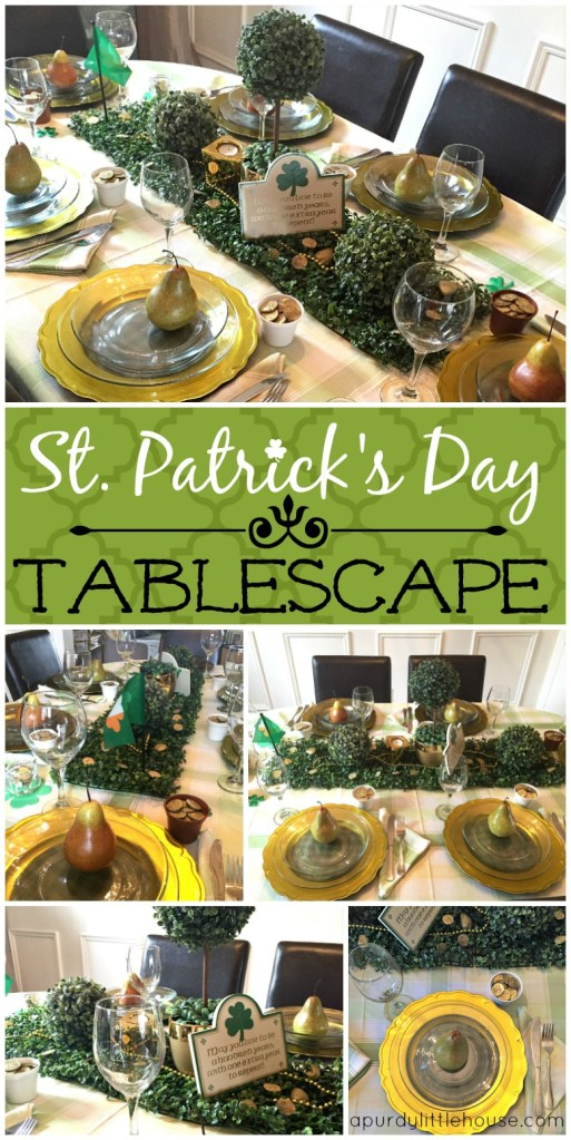 St. Patrick's Day Tablescape using boxwood as decor How to Decorate for St. Patrick's Day and entertaining ideas apurdylittlehouse.com