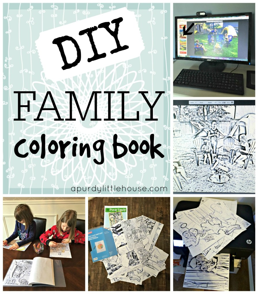 DIY Family Colouring Book and to create a fun and unique colouring book using family photos Unique and personalized gift idea Tutorial apurdylittlehouse.com
