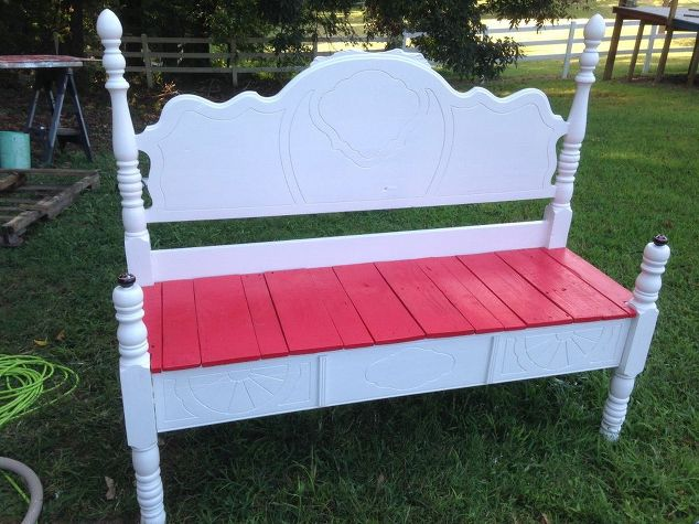 March Furniture Flip Challenge - #30DayFlip Round-Up Furniture Upcycle old-head-and-footboard-to-bench-diy-outdoor-furniture-painted-furniture #30dayflip