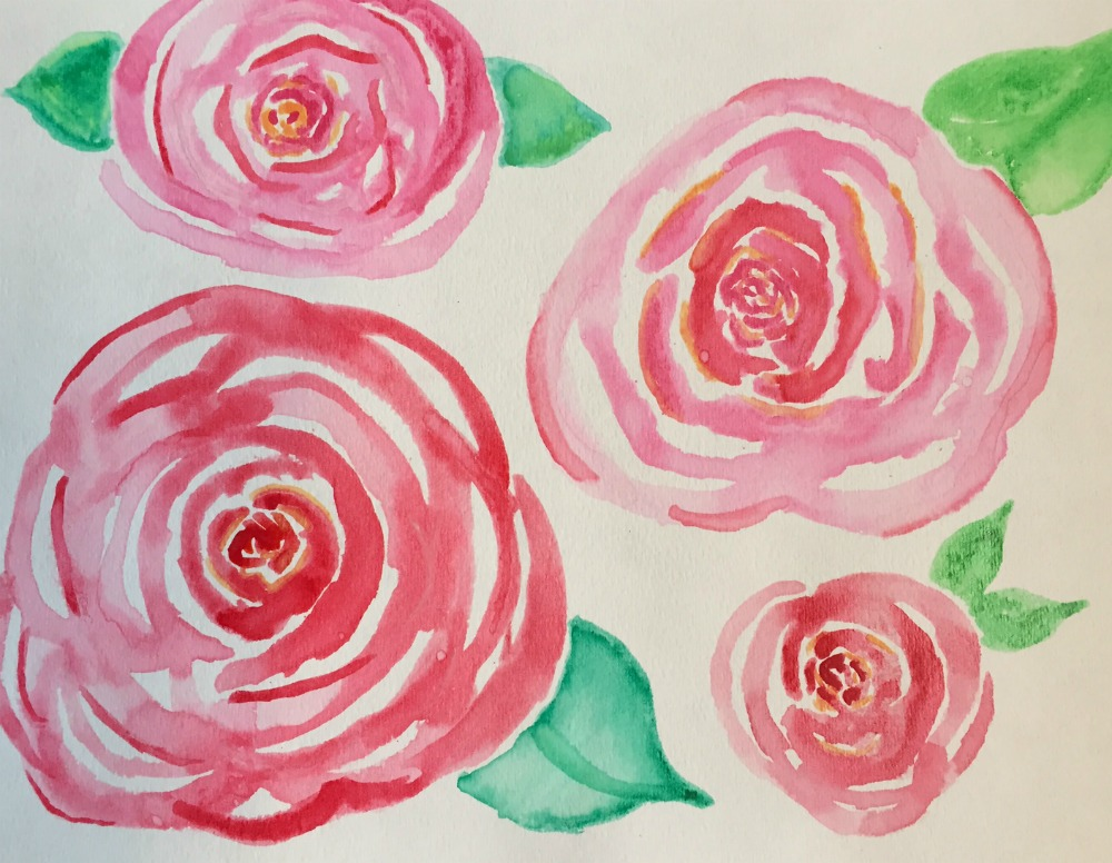 How to create DIY Art as Spring Decor 30 day flip challenge Watercolour Roses for beginners free printable of watercolour roses apurdylittlehouse.com