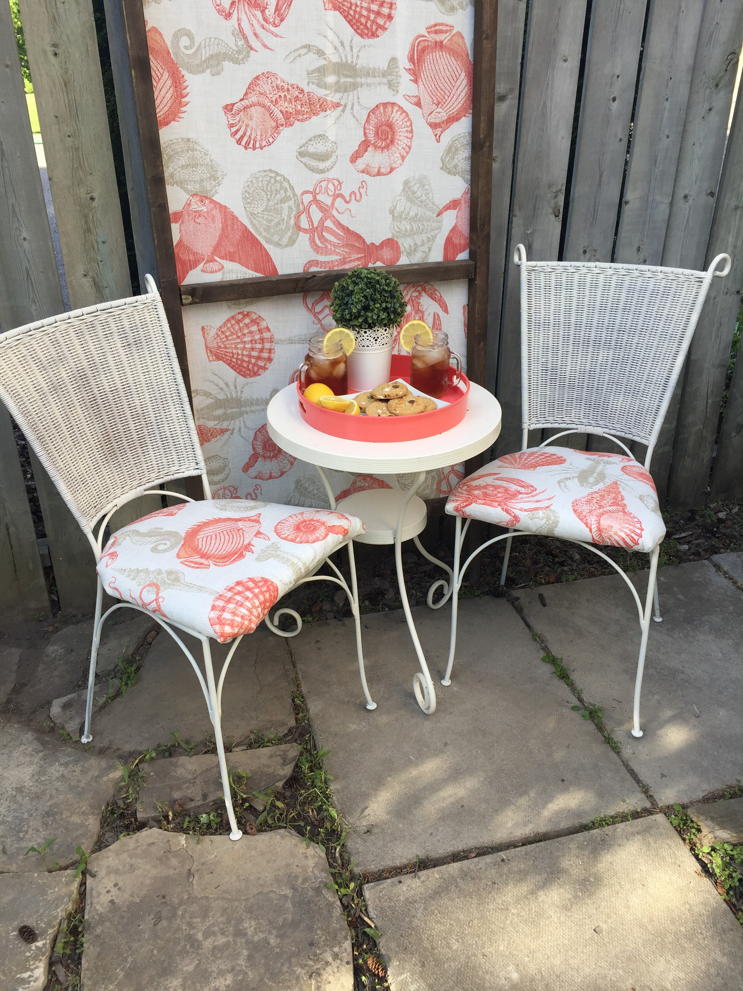 Bistro Set Upcycle. I transformed these two chairs that were sitting on the curb into a garden bistro set on apurdylittlehouse.com