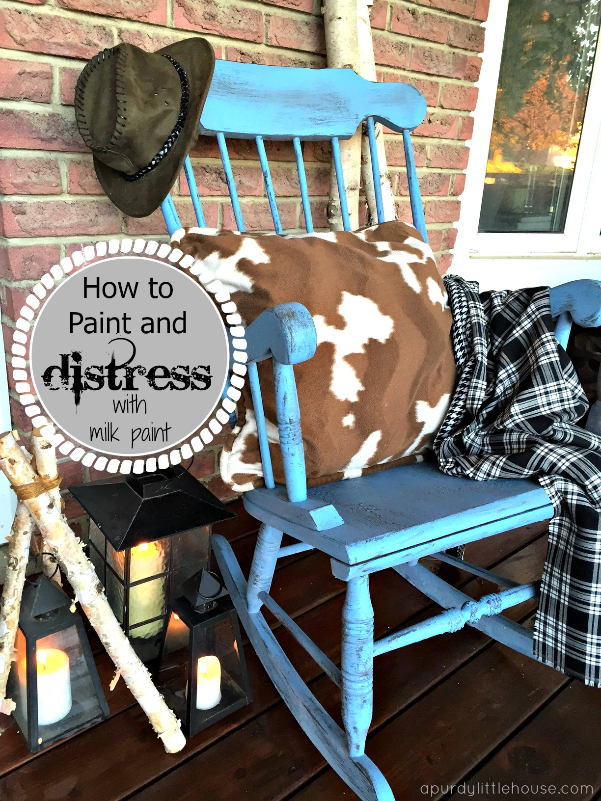 Farmhouse Distressed Rocker / Rocking Chair Makeover And Milk Paint 101  Using Old Fashioned Milk Paint