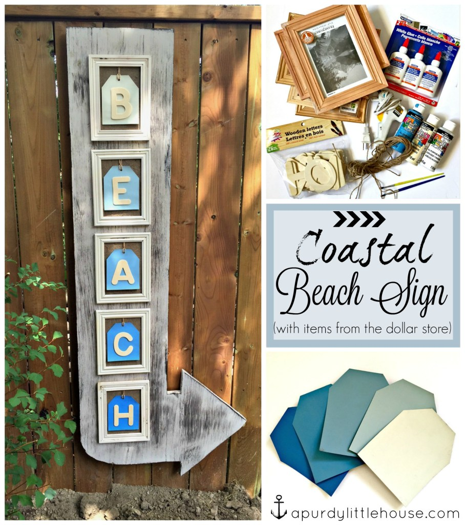 Coastal Beach Arrow made using items from the dollar store and scrap wood for the #30dayflip Dollar Store Flip Challenge at apurdylittlehouse.com