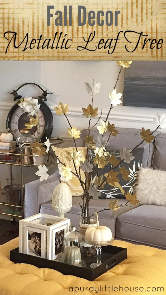 DIY Fall Decor. Metallic Leaf Tree. Check out all the details at apurdylittlehouse.com