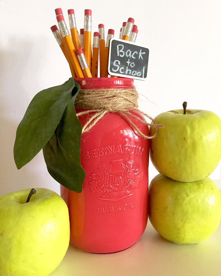How to turn a mason jar into a cute apple pencil holder at apurdylittlehouse.com