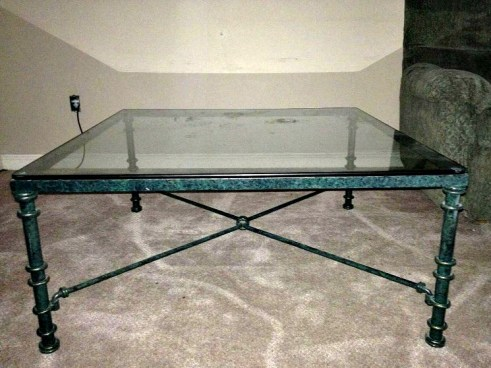 Before Pic. Faux Marble Coffee Table. See how I transformed this out dated glass coffee table into a marble showpiece.