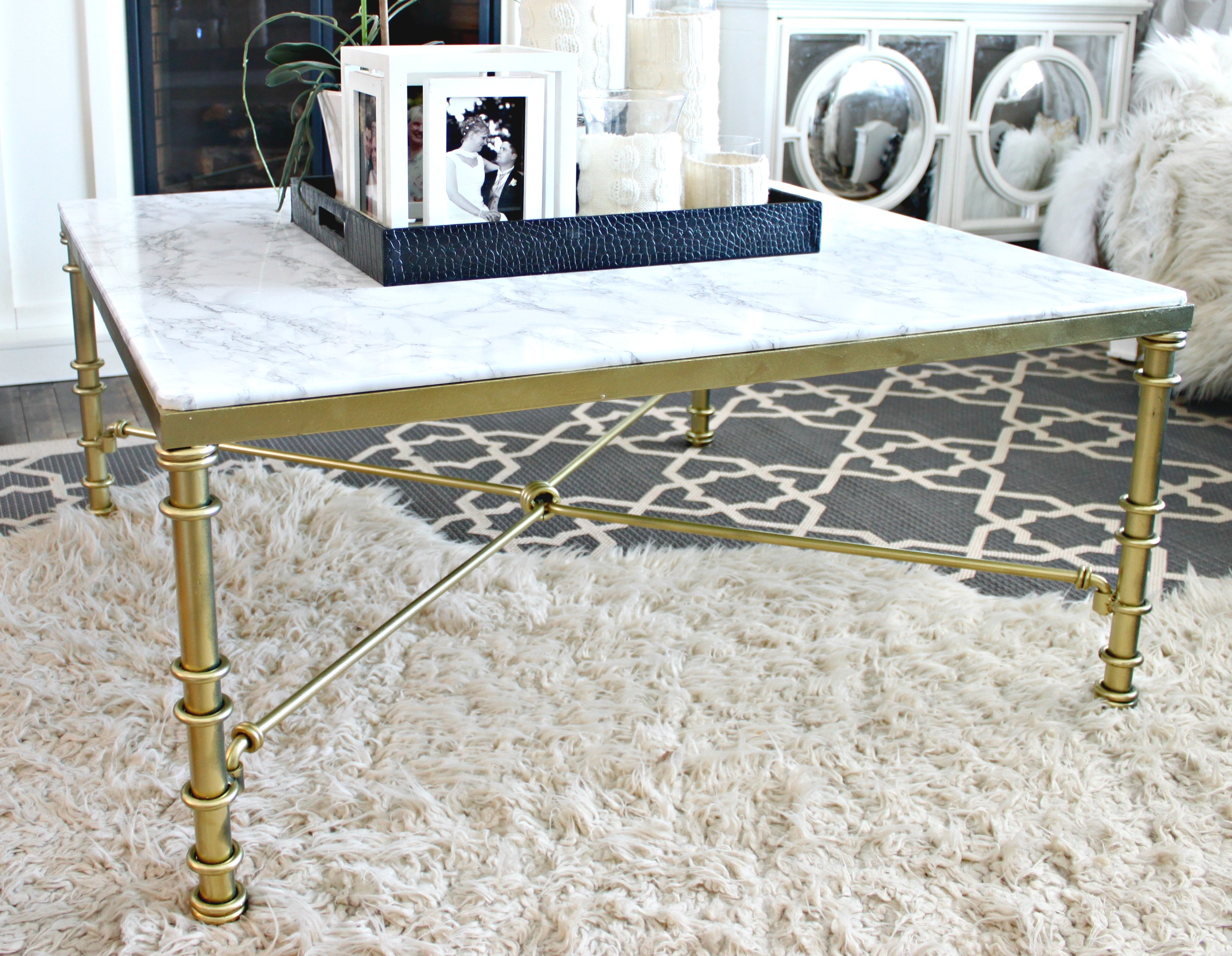 diy faux marble coffee table - a purdy little house