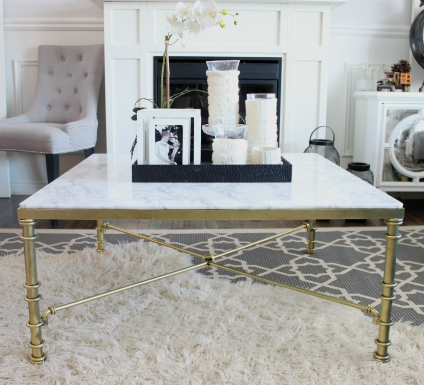 Faux Marble Coffee Table. See how I transformed this out dated glass coffee table into a marble showpiece using faux marble contact paper