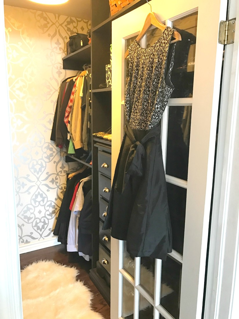 Master Bedroom Closet Makeover with custom built ins and shimmering wallpaper at apurdylittlehouse.com