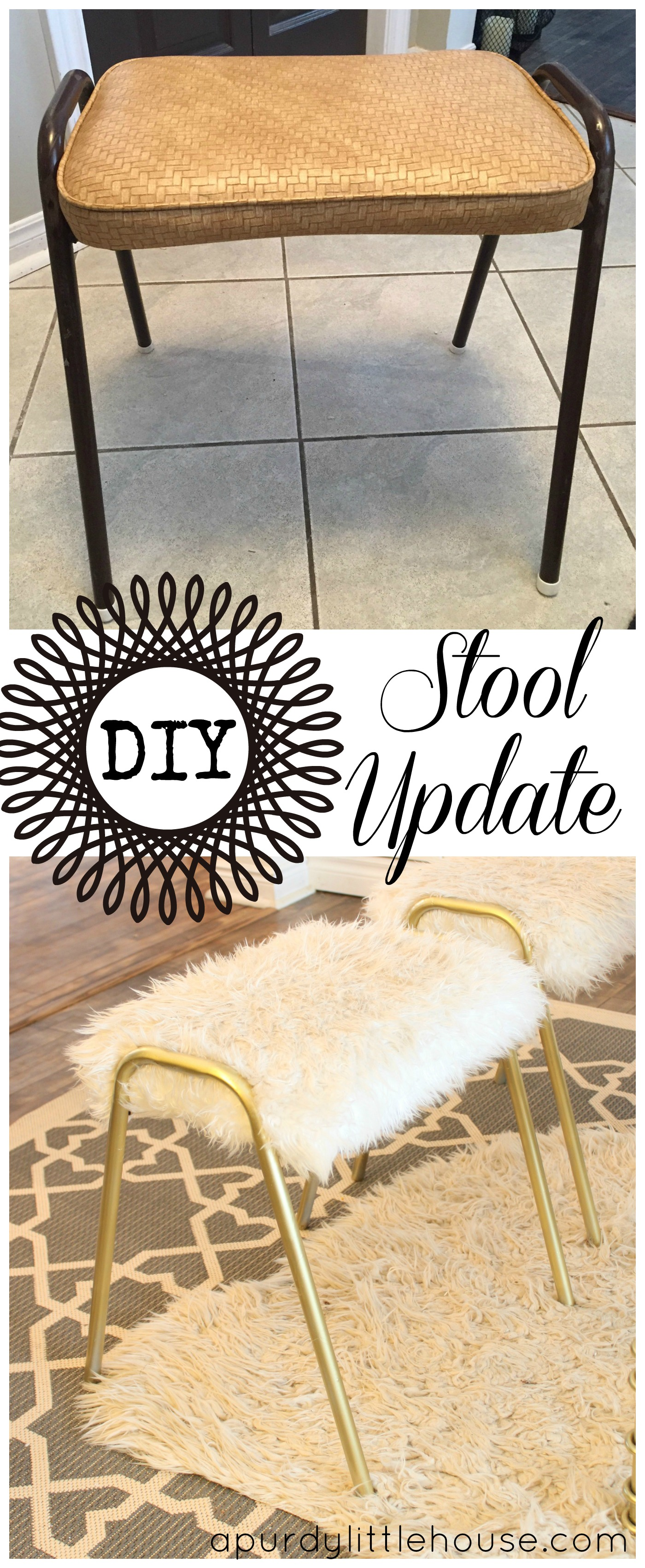 Reupholstered stools with spray painted legs in gold. I used a furry white fun fur on these to bring them into the 21st century