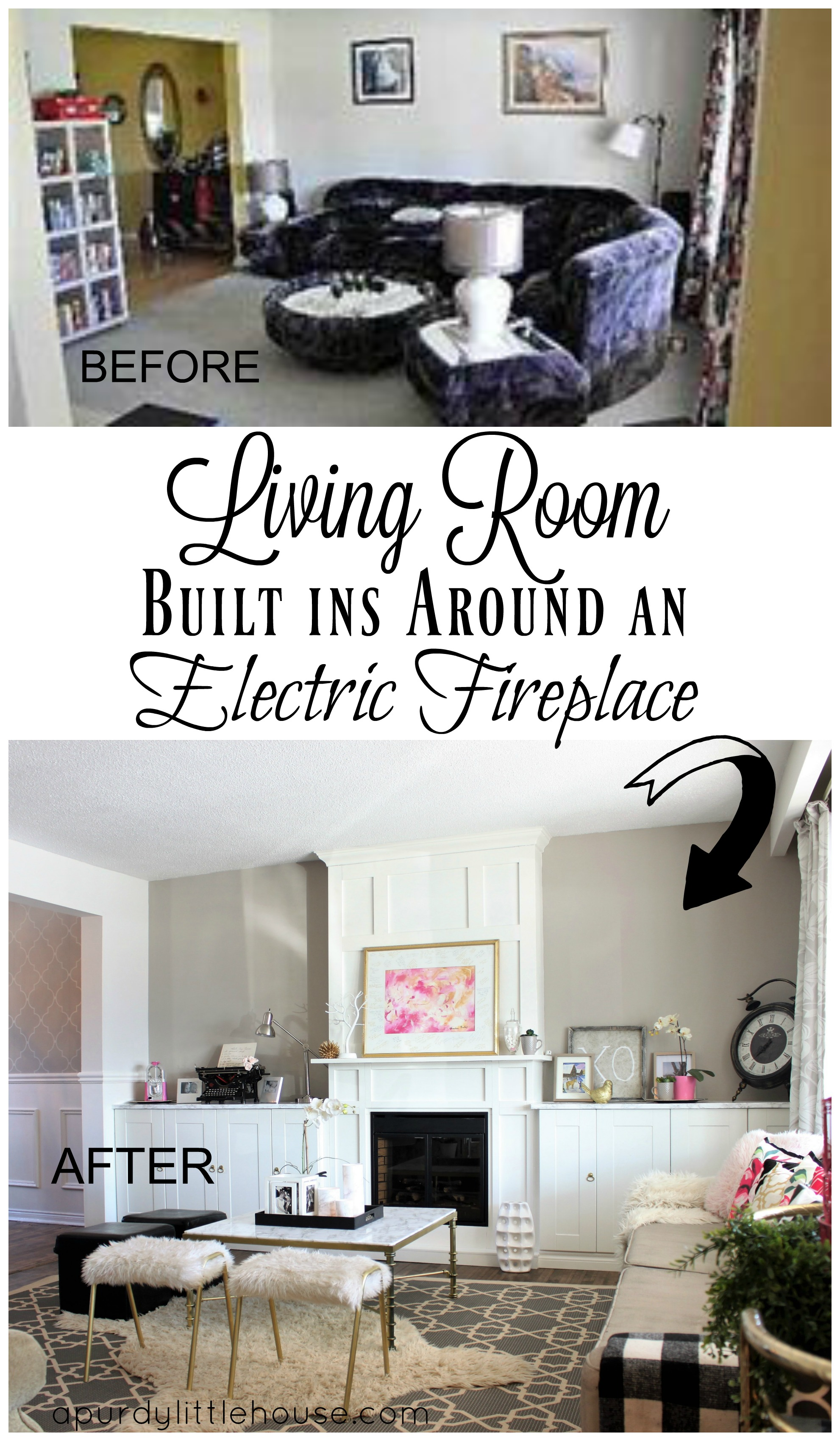 See how I created Living Room Built ins around an electric fireplace to give my home a feature wall and focal point to my formal living room.