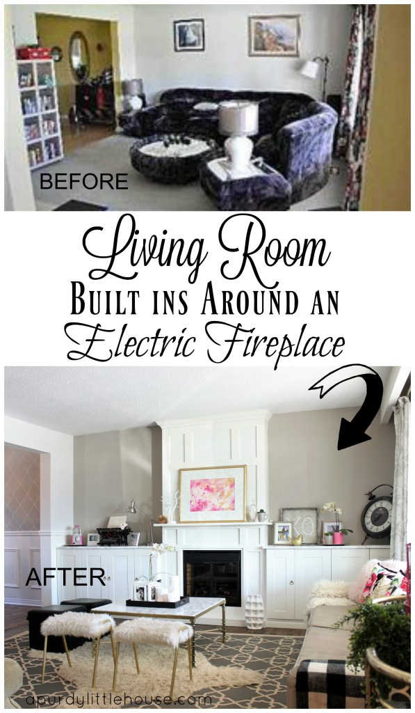 Living Room built ins around an electric fireplace