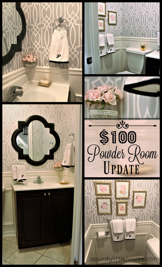 Powder Room Update - $100 Powder Room Update using wallpaper and wainscoting. Budget bathroom makeover at apurdylittlehouse.com