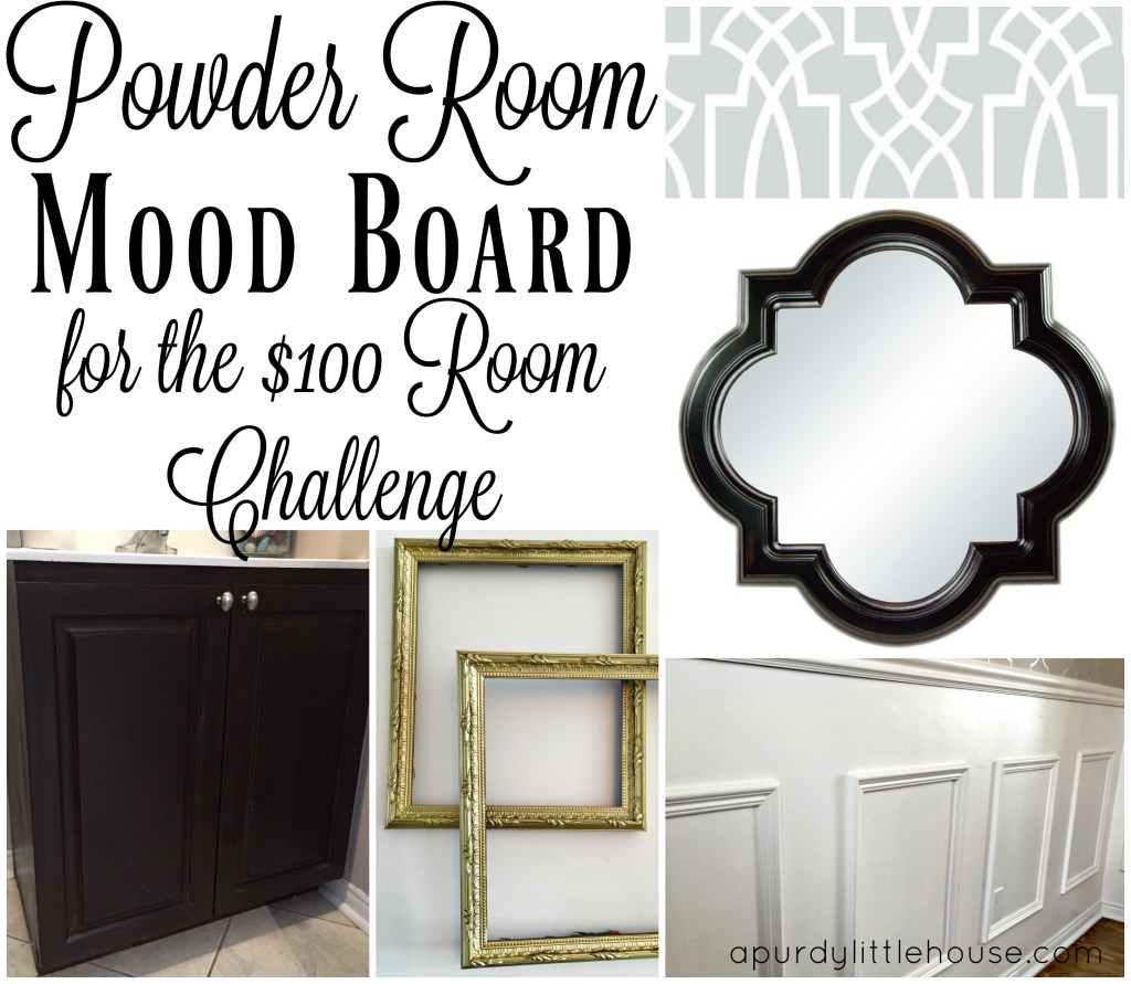 Powder Room Update Mood Board for the $100 Room Challenge
