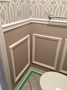 Powder Room Update Week 3 - Adding wainscoting boxes to a tiny bathroom