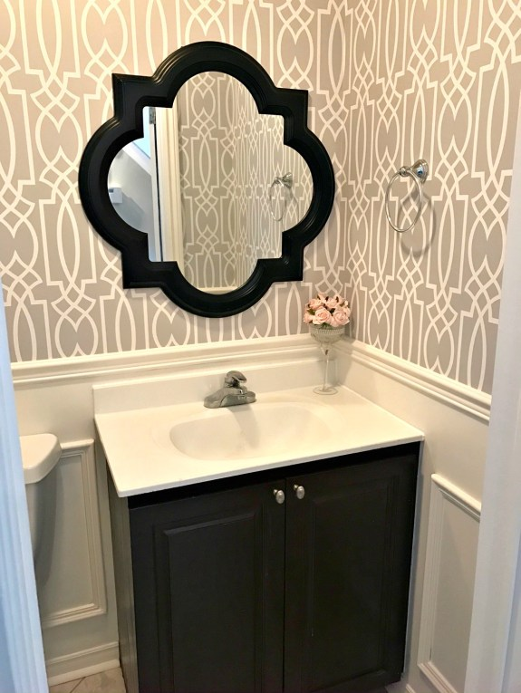 Powder Room Update - Week 3. See how adding wainscoting boxes can transform any space easily.