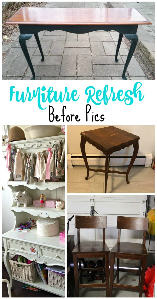 Furniture Refresh Before Pics for the April Acrylic Paint Challenge