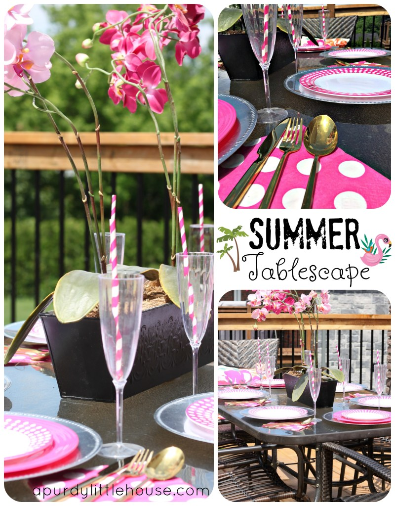 Summer Tablescape using pink and white and a sneak peek at my backyard deck makeover