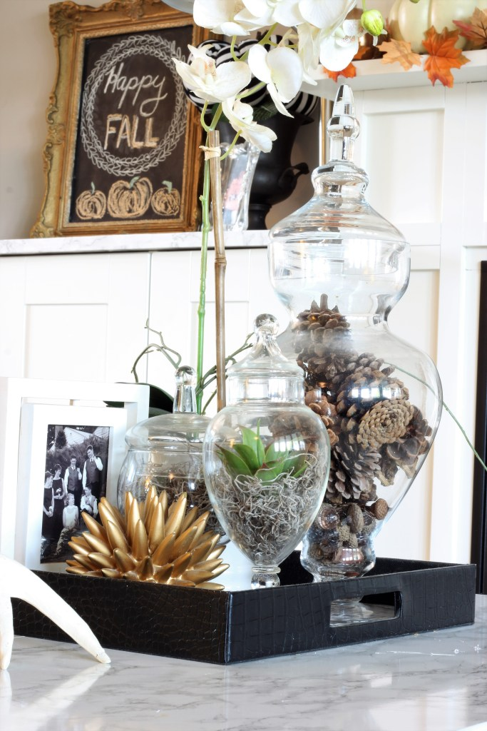 Fall Home Tour featuring a Fall Chalkboard and pinecone centrepiece