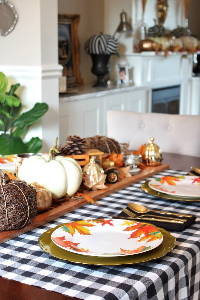Fall Home Tour featuring neutrals and a buffalo check fall table setting