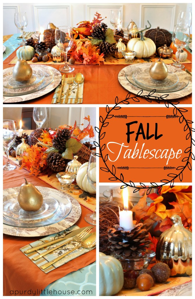 Fall Tablescape inspired by a cornucopia and orange tones