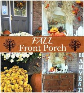 Fall Front Porch decorated with leaves, plaid, fall mums and a Harvest sign