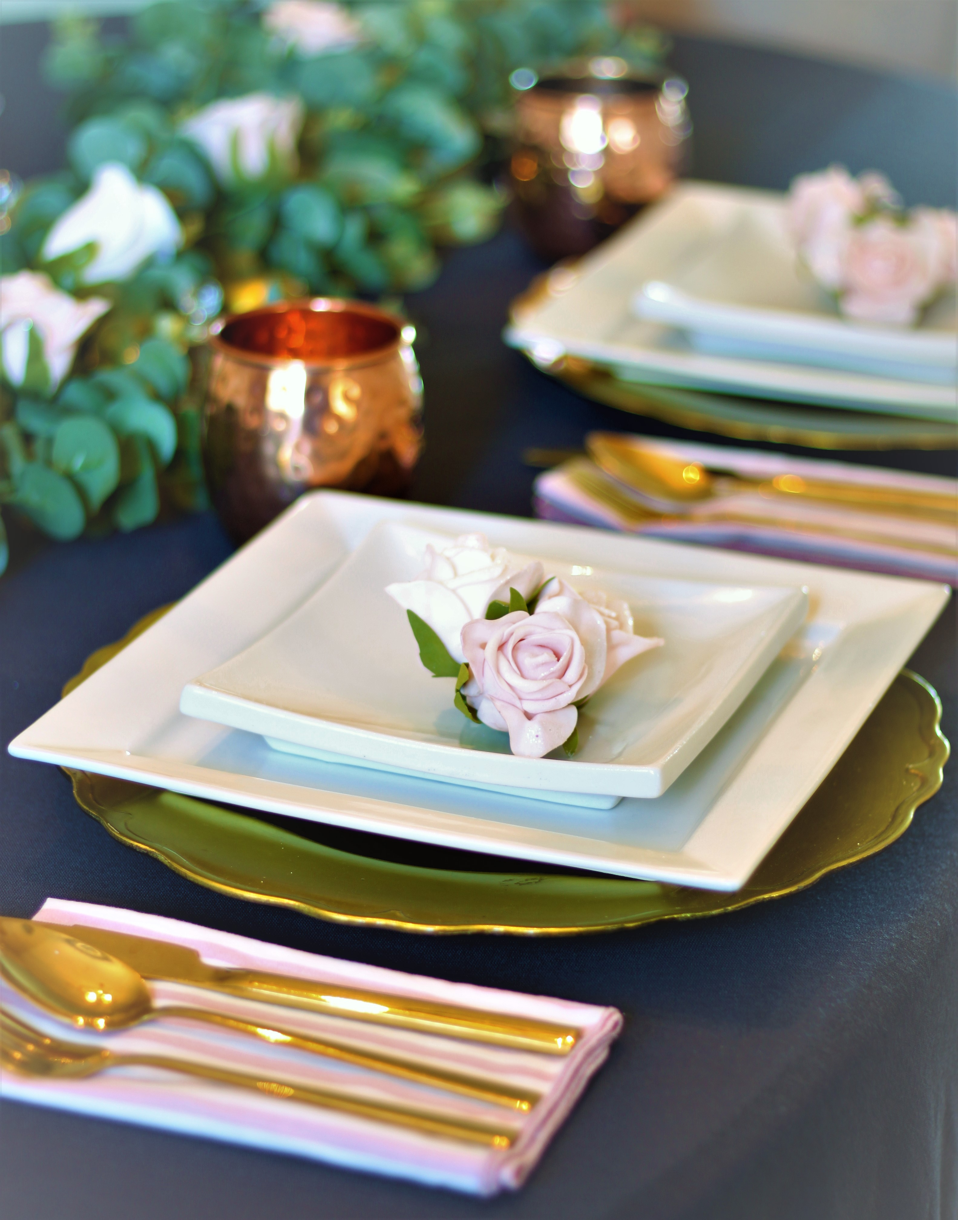 Spring Tablescape in a neutral grey dining room for a casual yet elegant look