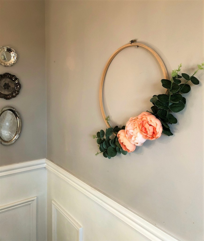 Easy DIY Embroidery Wreath using peonies