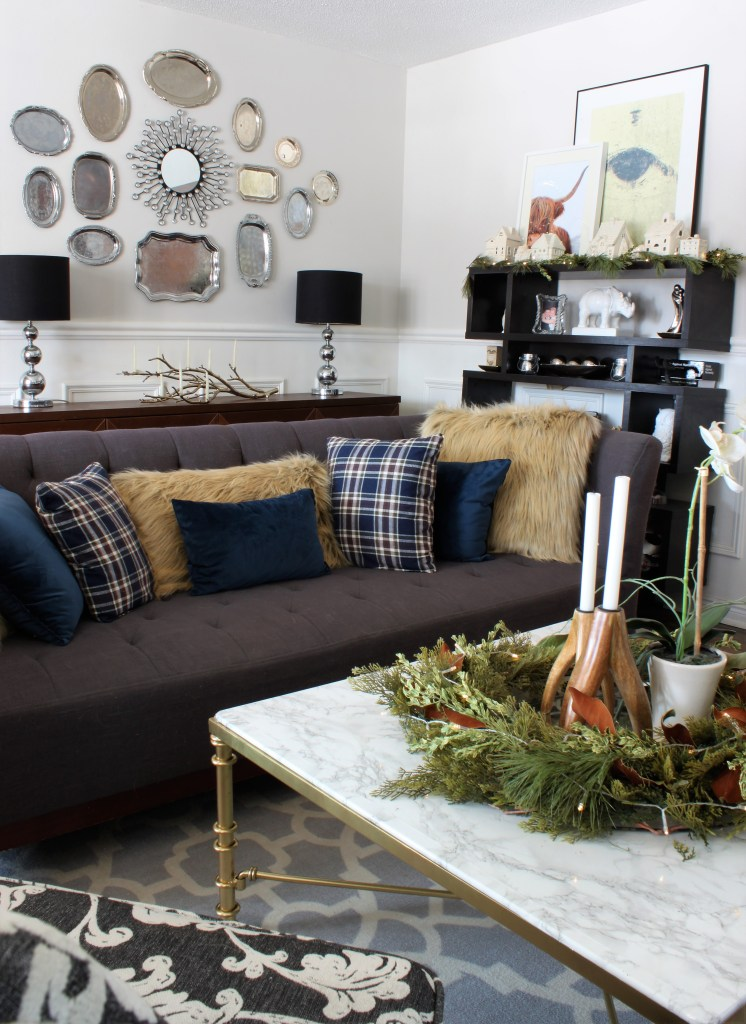 Copper and velvet christmas home tour with velvet pillows