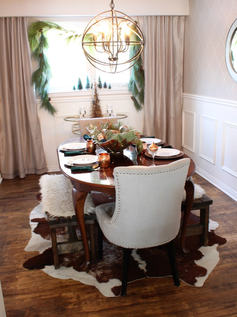 Copper and velvet christmas home tour with velvet pillows dining room