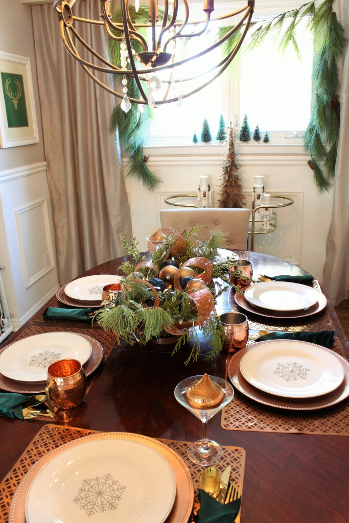 Copper and Velvet christmas home tour with green velvet accents in the the dining room