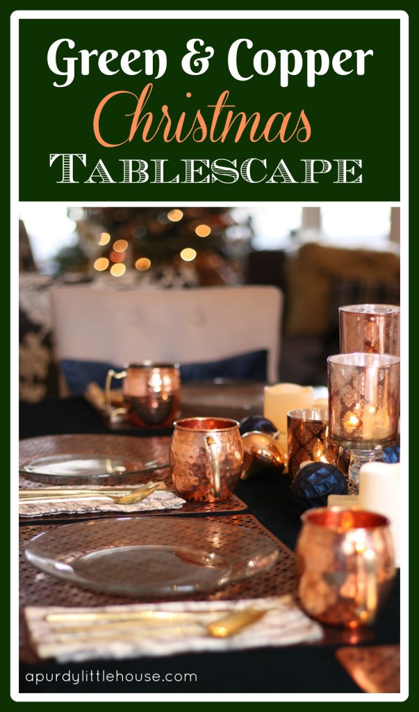 Green and Copper Tablescape using velvet tablecloth at apurdylittlehouse.com