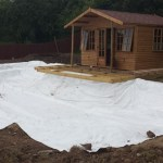 Top pond underlay in place ready to be EPDM lined