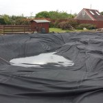 Pond liner in place