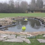 Paving around pond restoration