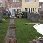 Garden turfed and underlay in place