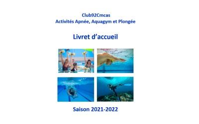 Livret d'accueil  Aquagazel : Aquagym,  Apnée, Nage avec palmes et Plongée sous-marine 2021-2022