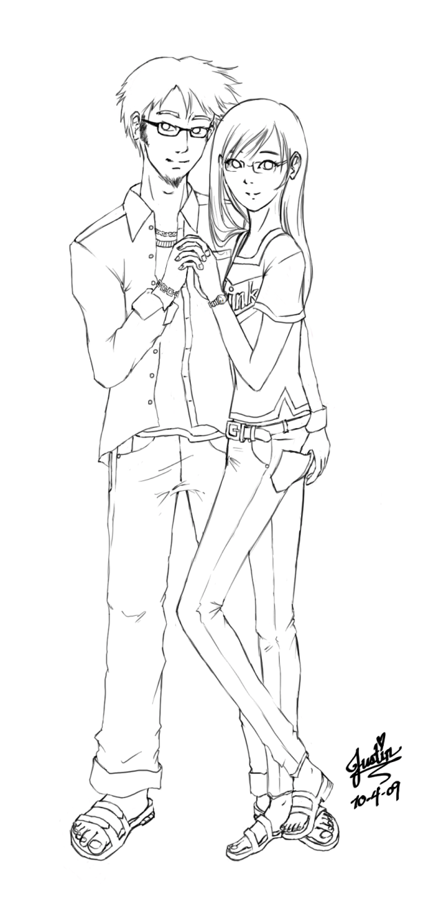 Anime couples coloring pages