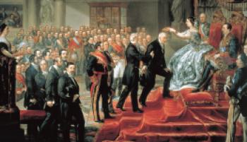 Isabel-Oligarchy-cropped-Isabel II en el Senado, _corona_ a Manuel Quintana 1855