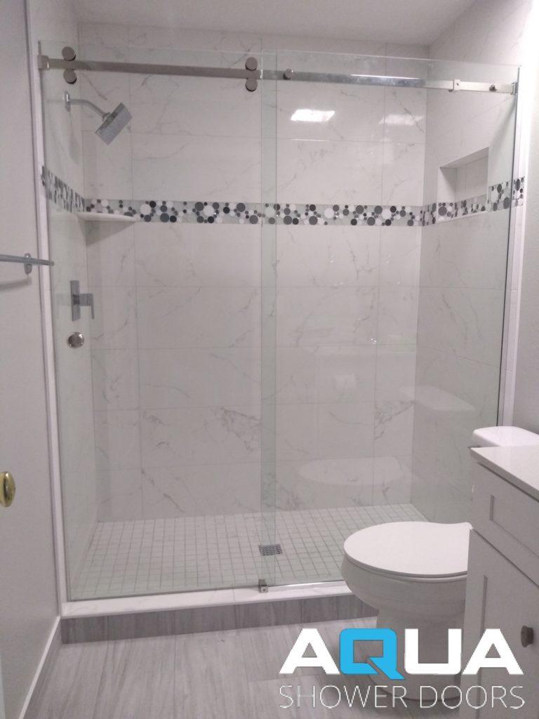 Custom Frameless Barn Style Shower Door Aqua Shower Doors