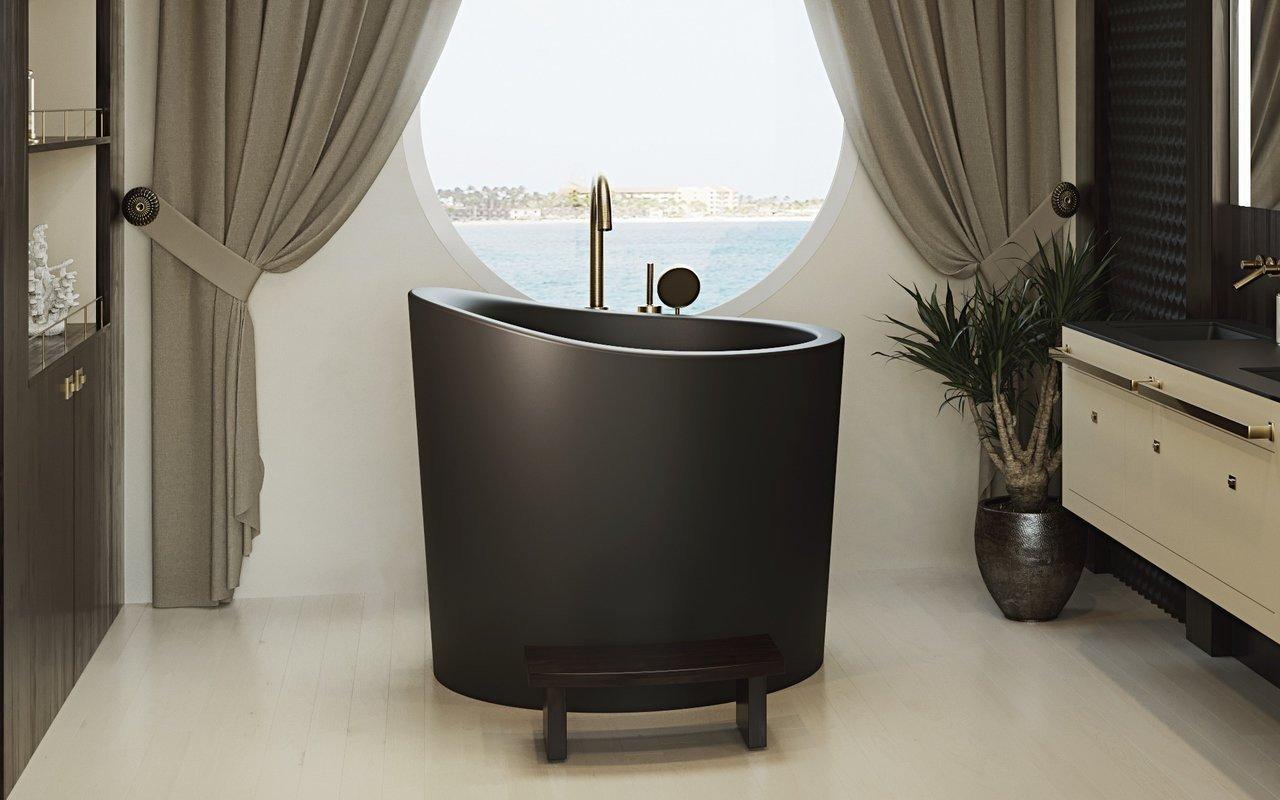 Aquatica True Ofuro Mini Black Freestanding Stone Japanese Soaking Bathtub
