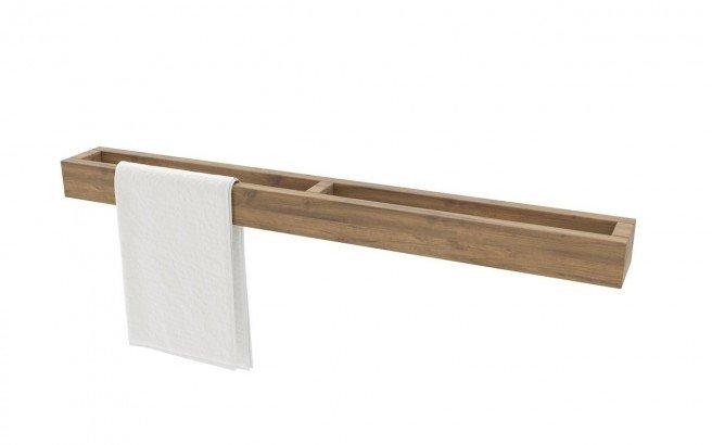 aquatica universal 32 waterproof wall mounted teak wood towel rack