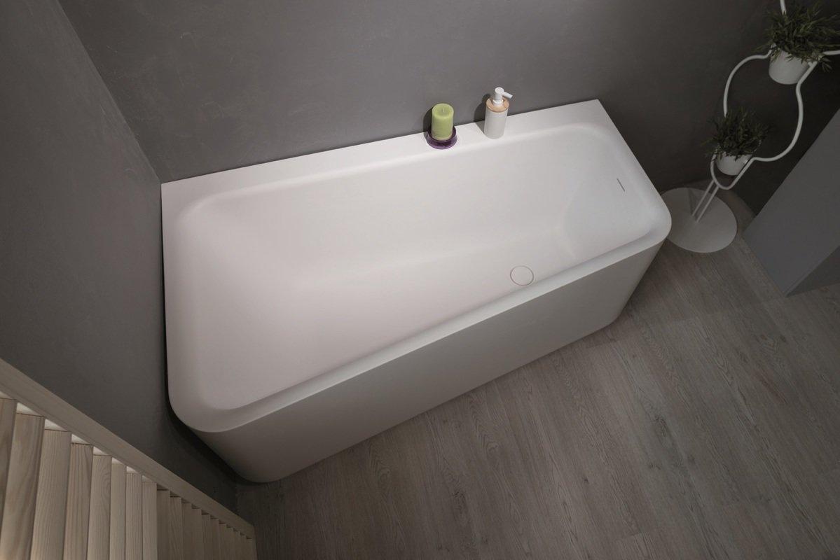 Aquatica Jane Wht Solid Surface Corner Bathtub