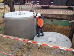 Installation de 2 cuves béton de récupération d'eau de pluie