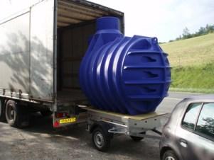 Transport et livraison d'un récupérateur d'eau de pluie