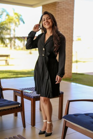 Vestido Plissado Preto