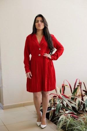 Vestido Plissado Vermelho