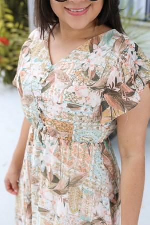 Vestido Longo de Crepe Floral