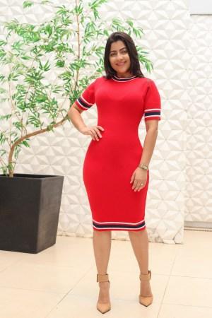 Vestido Tricot Tubinho Vermelho