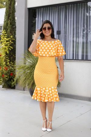 Vestido Tubinho Poá Amarelo